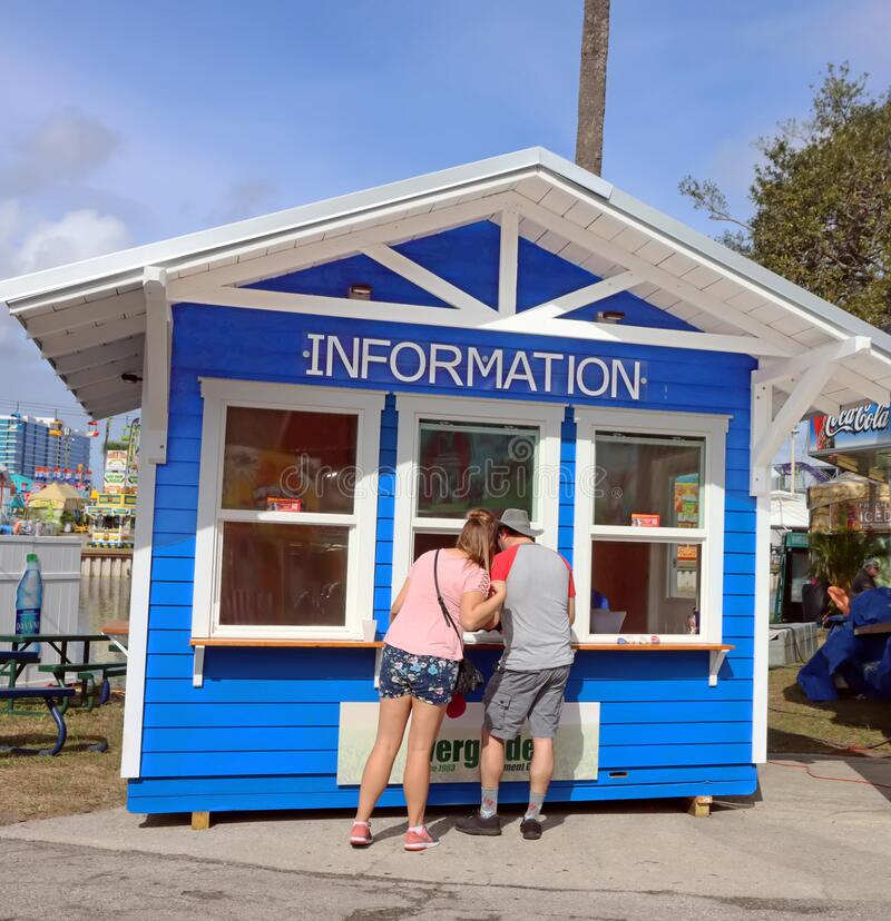 佛罗里达州展会的信息展位, 免版税库存照片