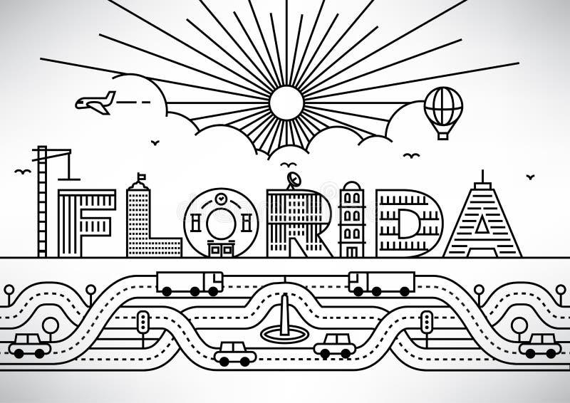 佛罗里达市与修造的信件的印刷术设计 皇族释放例证