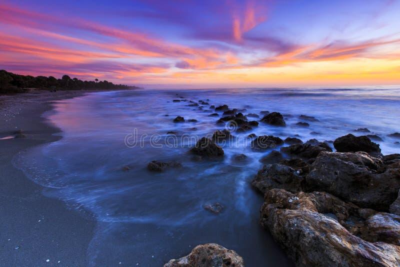 佛罗里达海滩日落 免版税库存图片
