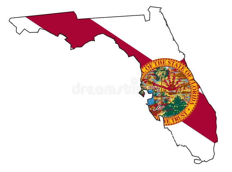 佛罗里达状态概述地图和旗子 皇族释放例证
