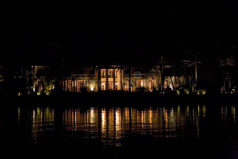 佛罗里达迈阿密从小船的晚上视图 免费库存照片