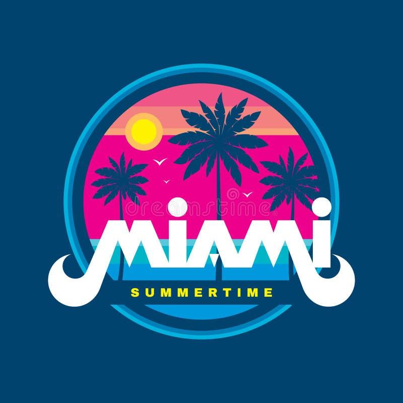佛罗里达迈阿密夏令时-传染媒介在减速火箭的葡萄酒图表样式的例证概念T恤杉的,印刷品,海报,小册子 棕榈 库存例证