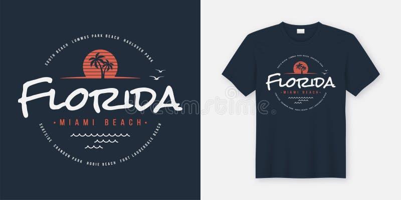 佛罗里达迈阿密海滩T恤杉和服装设计,印刷术, prin 皇族释放例证