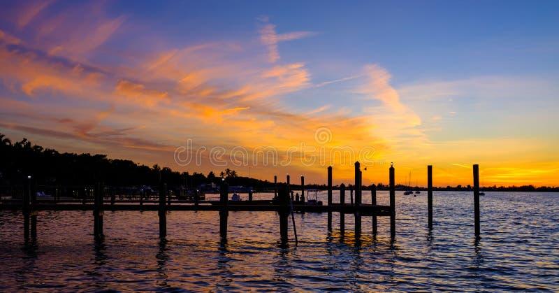 佛罗里达锁上日落 免版税库存图片