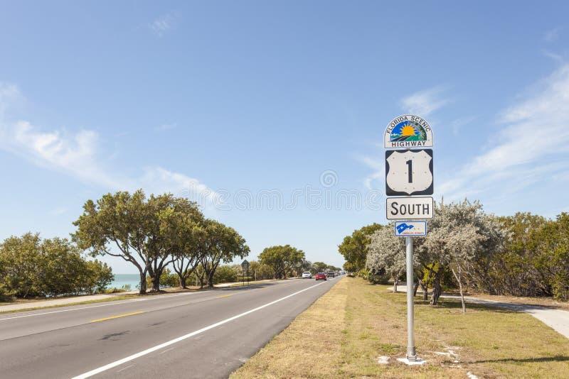 佛罗里达风景高速公路标志 库存照片