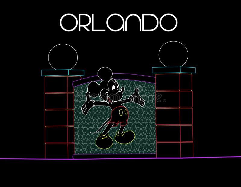 佛罗里达,奥兰多;2018年8月9日在霓虹五颜六色的背景的米老鼠 假期卡片 库存例证
