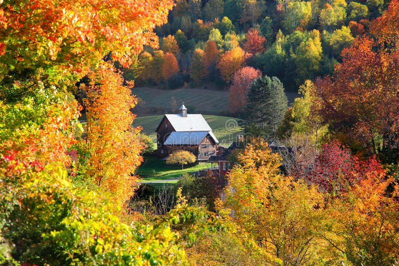 佛蒙特国家边的谷仓 库存图片