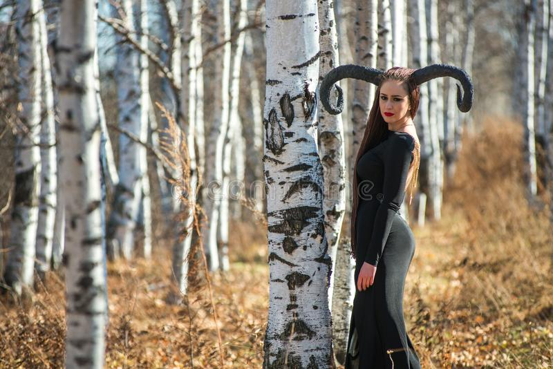 作为一个神仙的巫婆打扮的美丽的妇女雨衣的和有垫铁的为万圣夜 库存照片