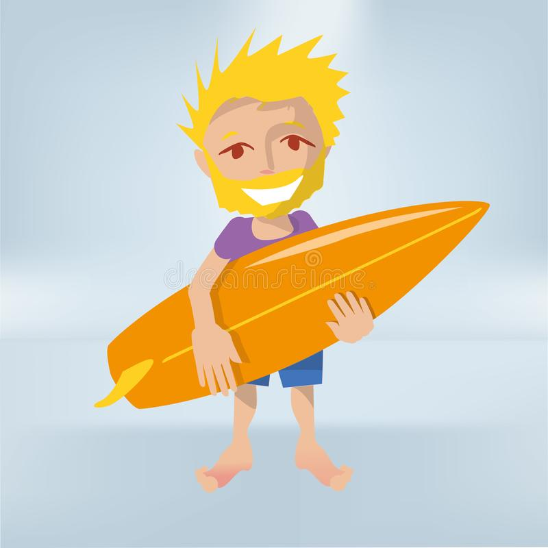 作为一位冲浪者的男性有冲浪板的 库存例证