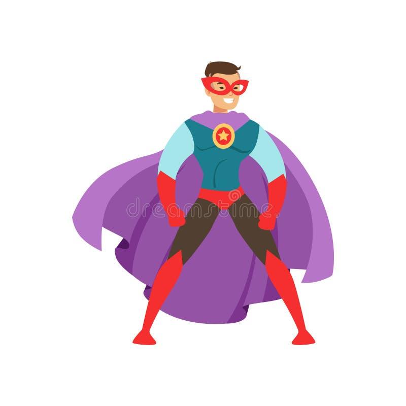 作为一位特级英雄穿戴的微笑的人字符站立在传统英勇姿势动画片导航例证 向量例证