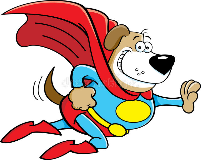 作为一位特级英雄穿戴的动画片狗 向量例证