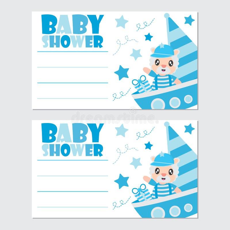 作为上尉的逗人喜爱的绵羊风船婴儿送礼会卡片设计的动画片例证的 皇族释放例证