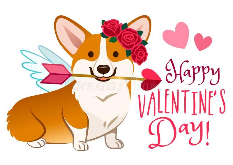 作为丘比特穿戴的滑稽的小狗狗,与天使翼,上升了在头,在嘴的心脏箭头的花花圈 情人节,爱,宠物 向量例证