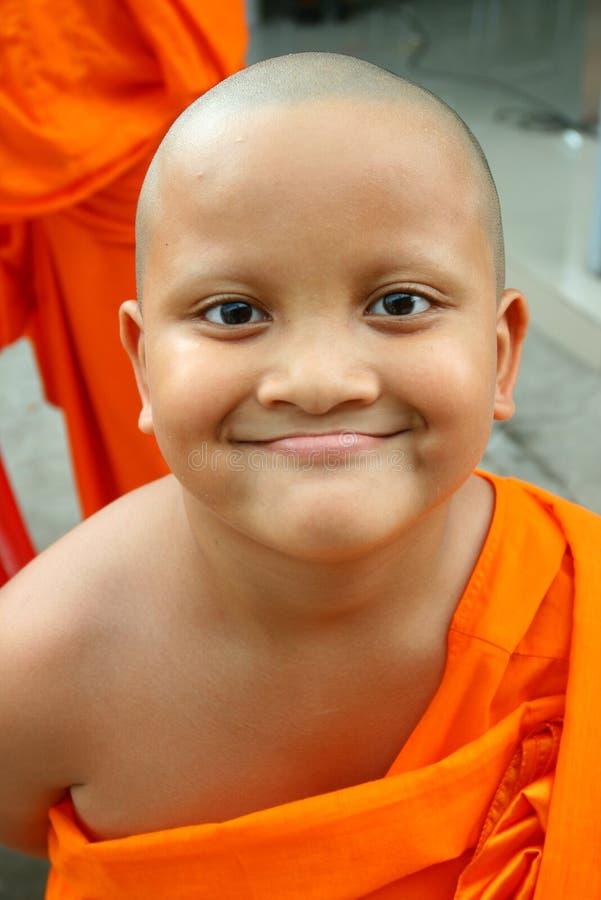 作为亚洲男孩佛教徒新手 免版税图库摄影