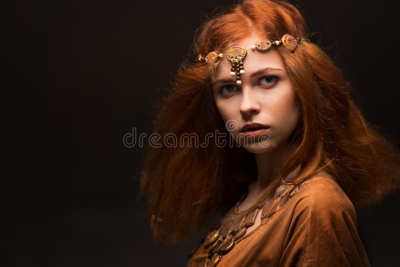 作为亚马逊打扮的美丽的妇女 库存图片