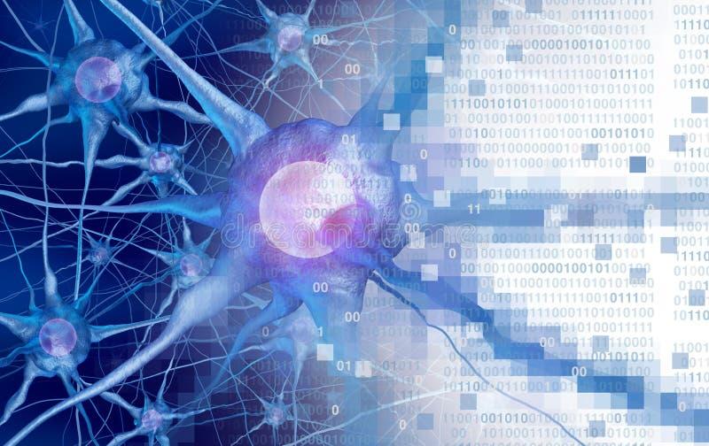 作为人工智能或虚拟现实技术的AI和神经科学aor数字神经学脑子作用概念作为3D 皇族释放例证