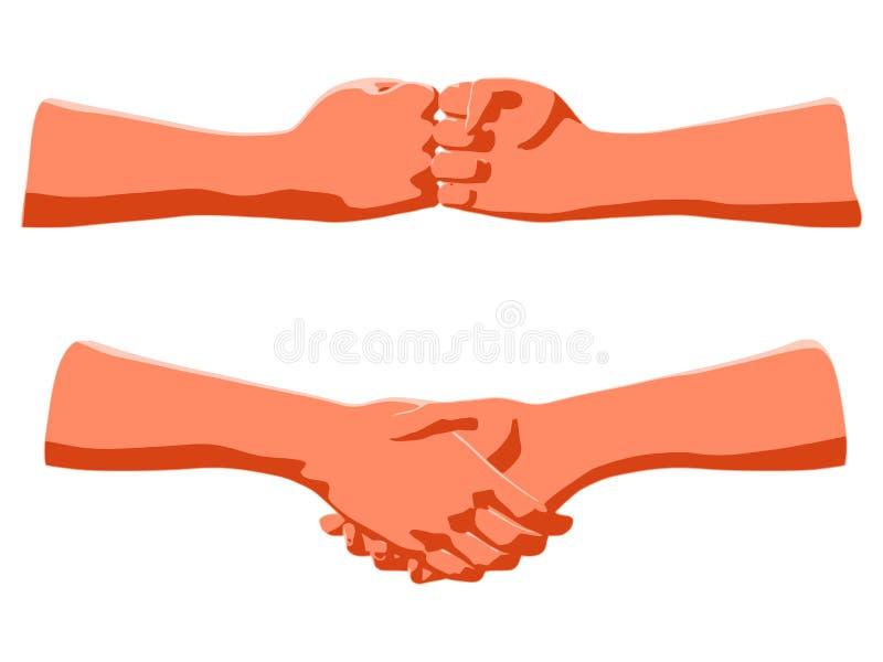 作为人的问候或企业协议的概念的握手 向量例证