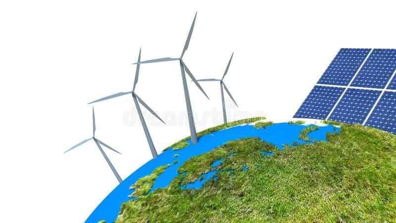 作为供选择的能源的太阳能电池 库存例证