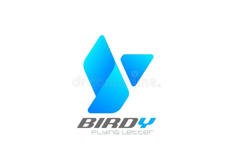 作为信件Y商标几何设计传染媒介模板的飞鸟 飞行丝带样式公司业务略写法象 皇族释放例证