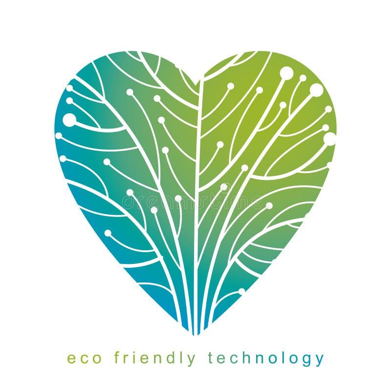 作为分支被连接的树和线的传染媒介例证以用wireframe创造的心脏的形式 环境保护 库存例证