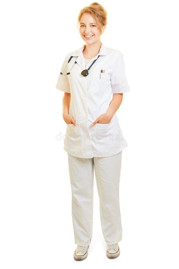 作为医生或护士的微笑的妇女 库存照片