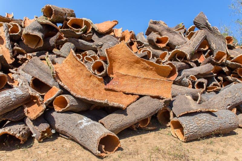 作为原材料的软木树吠声堆  免版税库存图片