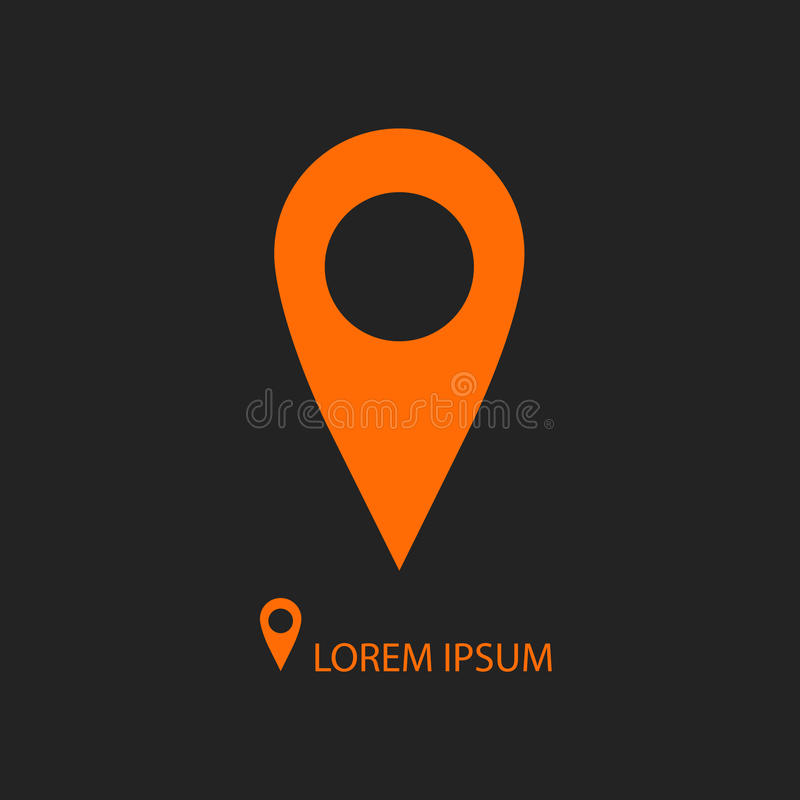 作为商标的橙色geo别针在黑色 库存例证