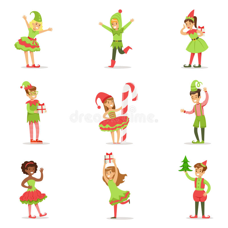作为圣诞老人服装假日狂欢节党的圣诞节矮子打扮的孩子 皇族释放例证