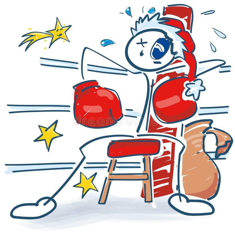 作为圣诞老人项目的棍子角落的形象和拳击手与黑眼圈 库存例证