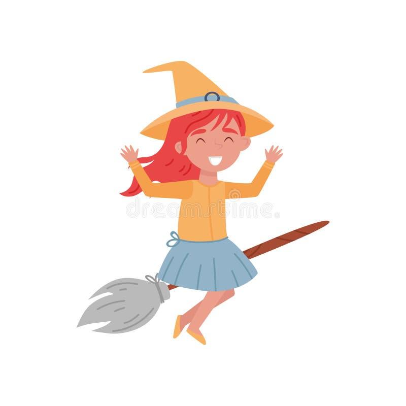 作为在一个笤帚传染媒介例证的一次巫婆飞行打扮的逗人喜爱的微笑的红发小女孩在白色背景 库存例证