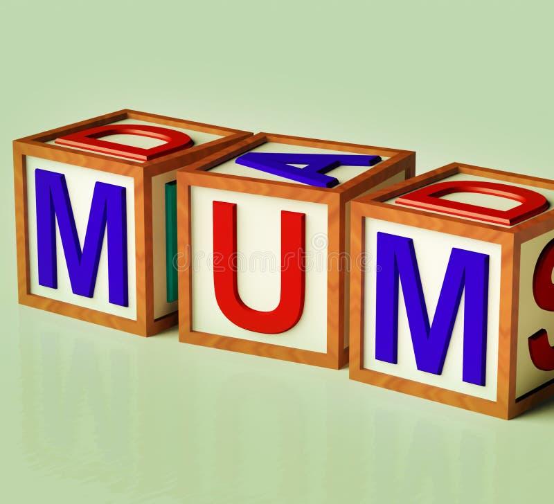 作为块孩子母性妈咪拼写符号 库存例证