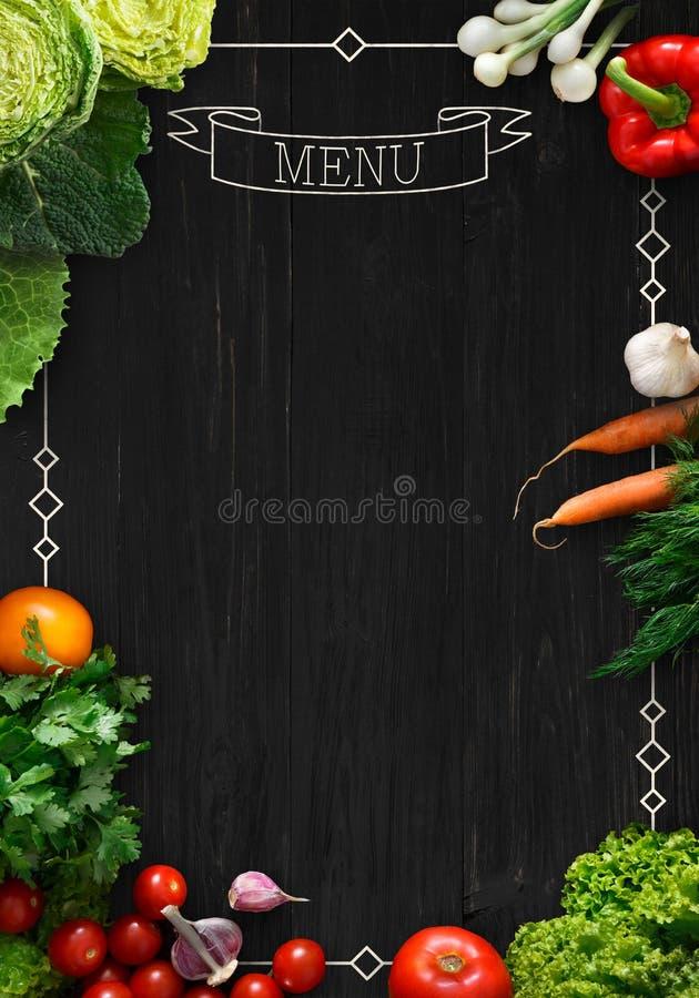 作为大模型的黑黑板餐馆菜单的 库存照片