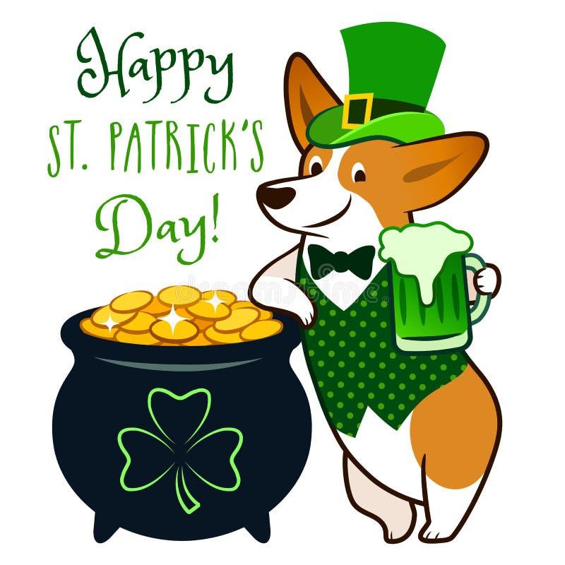 作为妖精穿戴的逗人喜爱的小狗狗,拿着绿色啤酒杯,有金壶的硬币传染媒介动画片例证 圣帕特里克` s 向量例证
