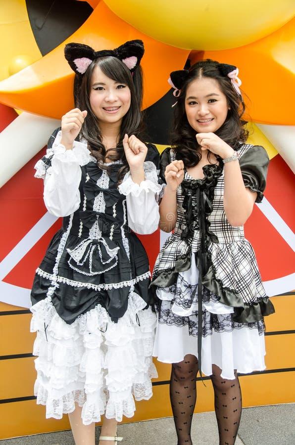 作为字符矿石Kuroneko的Cosplayers在Oishi世界Cosplay意想不到7的没有Imouto ga Konnani Kawaii苏醒ga Nai 库存照片