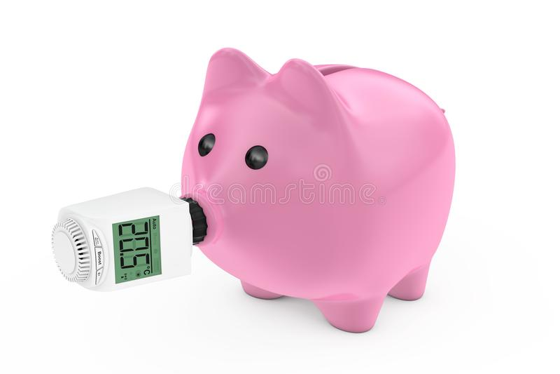 作为存钱罐鼻子的数字式无线幅射器恒温阀 向量例证