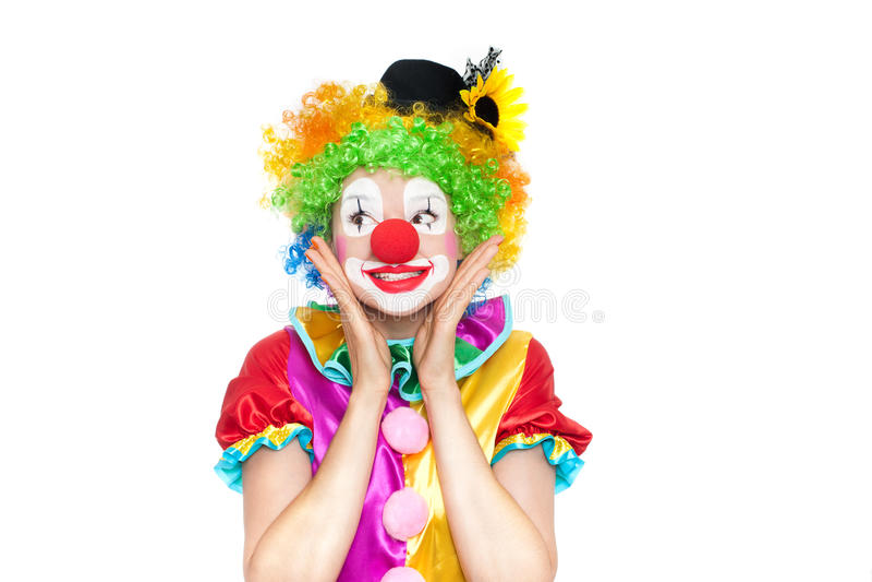 作为小丑的美丽的少妇 库存照片