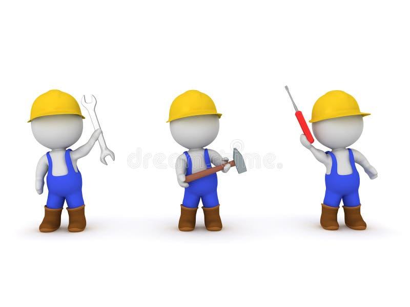作为工作者穿戴的三个3D字符 向量例证