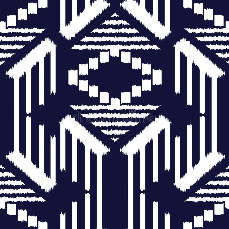 作为布料,帷幕,纺织品设计,墙纸,表面纹理背景的Ikat无缝的样式 r 库存例证