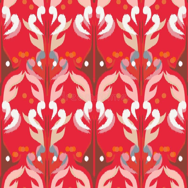 作为布料,帷幕,纺织品设计, wallpa的Ikat无缝的样式 向量例证