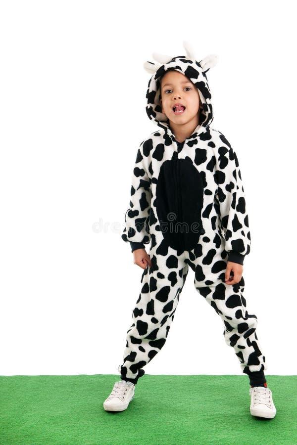 作为愉快的母牛的小男孩在草甸 免版税图库摄影