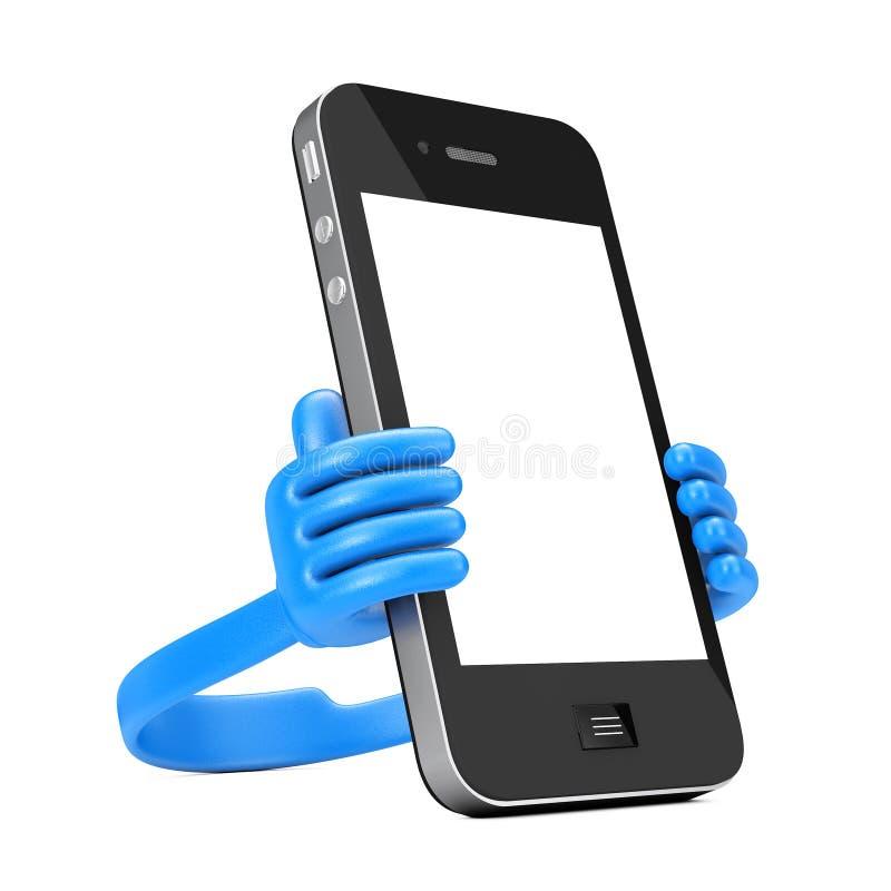 作为手的塑料手机持有人拿着智能手机 3D renderi 库存例证