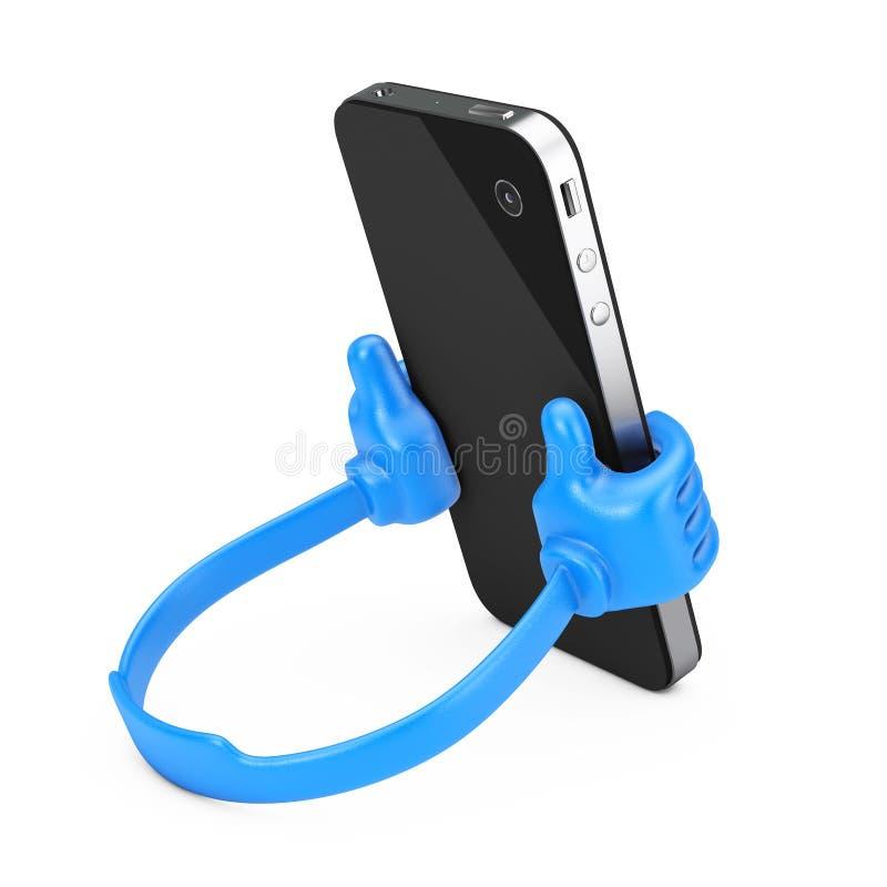 作为手的塑料手机持有人拿着智能手机 3D renderi 向量例证