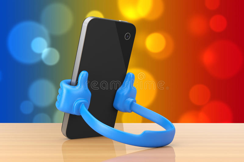 作为手的塑料手机持有人拿着智能手机 3D renderi 皇族释放例证
