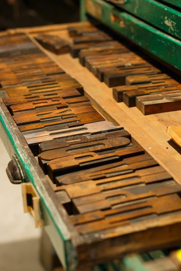 作为排序或类型也被命名的地道木信件的套从用于活版很久以前的西里尔字母 图库摄影