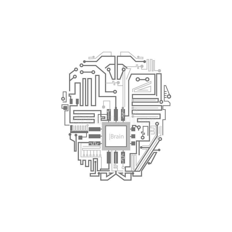 作为数字电路计划显示的机器人脑子 皇族释放例证