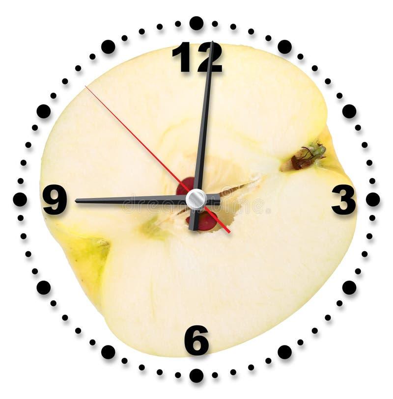 作为时钟交叉办公室唯一黄色的苹果 免版税图库摄影