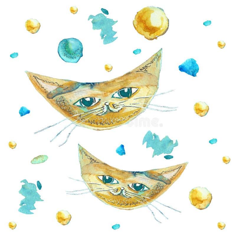 作为月亮的猫在白色背景 绘与水彩 库存例证