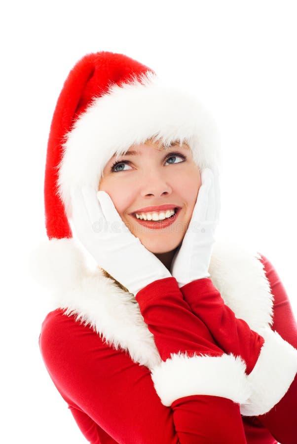 作为梦想的加工好的女孩圣诞老人 免版税图库摄影