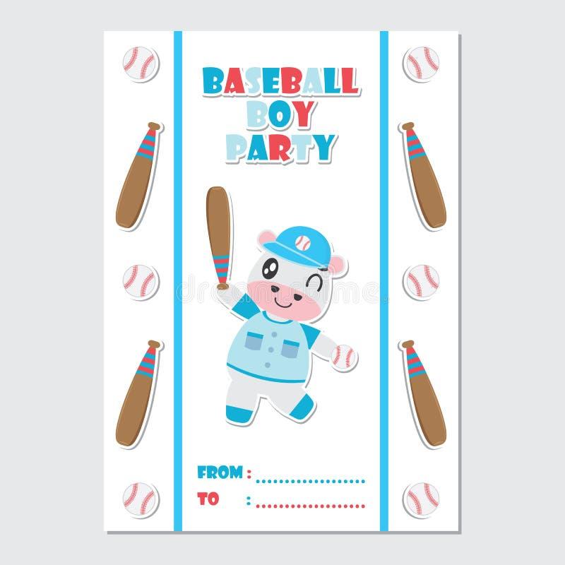 作为棒球运动员动画片例证的逗人喜爱的母牛婴儿送礼会卡片设计的 库存例证