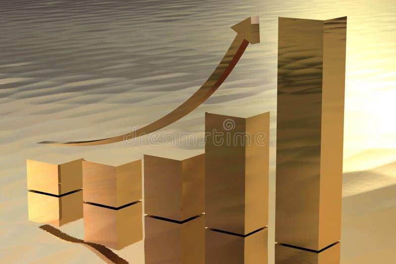 作为棒金子增长的符号财富 库存例证